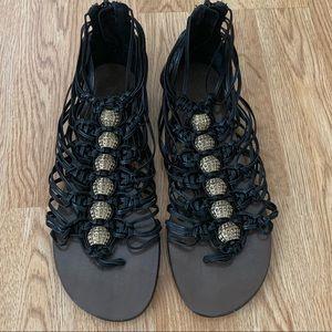 Shoes - Jean Michel Cazabat Black Leather Sandals